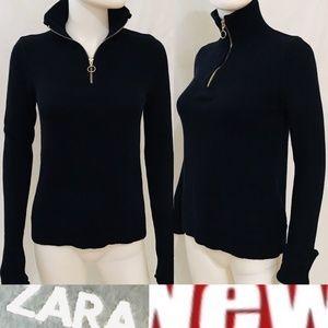 Zara Sweater M Navy Blue Turtleneck Convertible